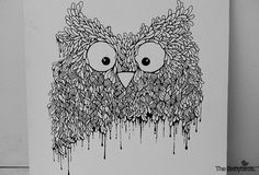 owl02 #white #owl #& #black #birds #illustration