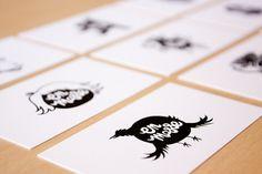 En Masse | Écorce Atelier Créatif #print #illustration #logo #business card #black and white #bird #en masse