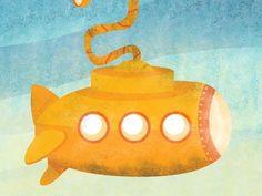 Dribbble - Submarine by Javiera R. Benavente #yellow #the #illustration #sea #under #submarine