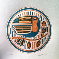 Toucan Letterpress by Byvik Ink #illustration #flat colour #toucan