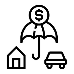 See more icon inspiration related to car, umbrella, safe, insurance, dollar sign, property, protection, house, home, coin, dollar, security and money on Flaticon.
