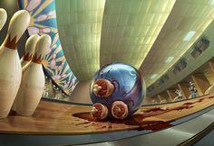 yes, tea on Illustration Served #macabre #bowling #illustration #strange #bloody
