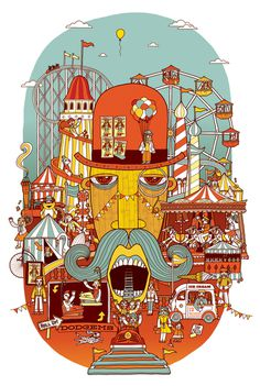 Fairground. Illustration by Allan Deas www.allandeas.com