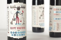 Holiday 'Harold' Wine Promo 2010 on the Behance Network #pack #wine #bottle