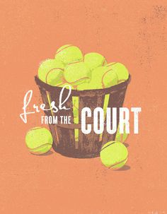 FAMILY_CIRCLE_CUP_PEACH_BALLS_J_FLETCHER_DESIGN #illustration #poster #tennis #tea