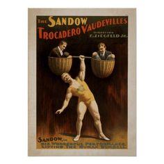ZIEGFELD Strong Man Act VAUDEVILLE Poster #poster #vintage #strongman