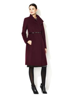 Cinzia Rocca Belted Coat #fashion #maroon #jacket
