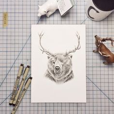Reinbear illustration, by Cecilia Hedin #deer #ink #white #desktop #woodland #black #hybrid #illustration #reinbear #and #bear #animal
