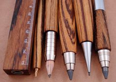 these would make me a better art director Zebrano wood writing implements from e+m Holzprodukte of Germany