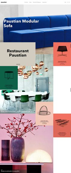 modern type and furniture. Typeface is Nationale.