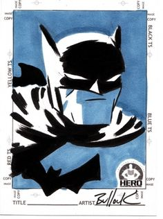 Batman HERO INITIATIVE card by ~DaveBullock on deviantART #marker #dave #batman #illustration #bullock #duotone #comics
