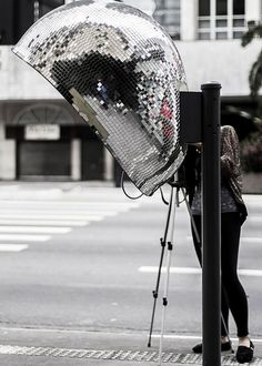 Half disco ball creative phone booth #phone #public #booth #art #street #exterior #telephone