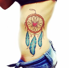 Rib Dreamcatcher Tattoo Design with Cute Heart