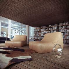 Industrial Loft #interior #loft #design #wood #industrial #bookshelf