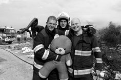 Rescued #firemans #white #black #smile #teddy #fire #rescue #and #action