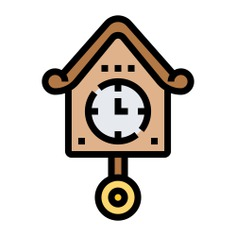 See more icon inspiration related to time and date, furniture and household, cuckoo clock, Tools and utensils, cuckoo, adornment, ornament, decoration, vintage and time on Flaticon.