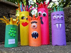 Cardboard Tube Craft: Make a Colorful Ghoul Family! These are ADORABLE and perfect for Halloween! But monsters are great any time of year, s #yourself #klorolle #shop #do #it #window #monster #colour