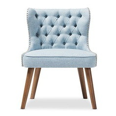 Light Blue Accent Chair with Exposed Nailhead Trim