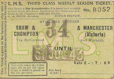 All sizes | LMSR third class weekly season ticket between Shaw & Crompton station and Manchester (Victoria) via Hollinwood and Werneth, 31 J #type #retro #ticket