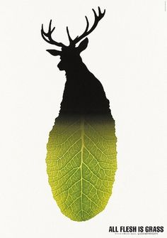Shigeo Fukuda — Lost At E Minor: For creative people #graphic design #poster #shigeo fukuda #deer #leaf