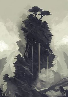 Tervana by ~MagusVerus on deviantART #japan #fantasy #mountain #cliff #illustration #waterfall #trees