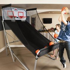 Double-Shot Arcade Basketball System #tech #flow #gadget #gift #ideas #cool