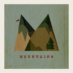 M is for Mountain #mccarty #cut #mountain #flag #paper #illustration #distressed #type #mountains #michael