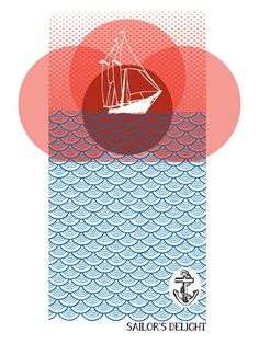 Red Sky at Night by Brainstorm #illustration #poster #nautic
