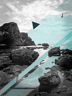 North by Northwest #ocean #design #digital #rocks #photography #collage #teal #oregon