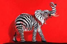 "Ron English ""NeoNature"" @ Corey Helford Gallery elephant zebra stripe"