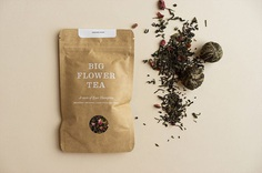 "Packaging for Big Flower Tea by Maude Paquette-Boulva ""Big Flower is a clothing company in East Hampton, NY. For the opening of their first store in the summer of 2016, they wanted to have elegant tea samples to offer customers a taste of their..."
