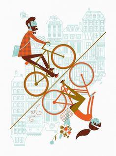 Uphill Downhill ARTCRANK Poster by AlbertandMarie on Etsy #albert #marie #bicycle #illustration #bike #and #art #crank