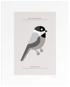 Lumadessa | Black-Capped Chickadee - Silver (Dot Print) #birds #illustration #brill #josh