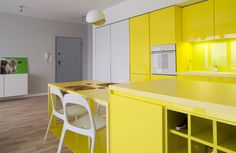 Cheerful Apartment in Krakow by PERA studio Photo #interior #design #yellow #decor #kitchen #deco #decoration