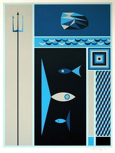 FFFFOUND! | greg mably at drawger #ocean #fish #geometric #illustration #sea #blue #underwater
