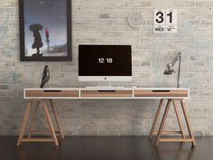 Desk AN #interior design #architecture #desk #workspace #mac