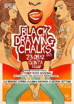 Black Drawing Chalks - marianapoczapski #illustration