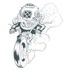 scubadiver werewolf biker #graphic design #design #illustration #art #motorcycle #drawing #painting #octopus #pen and ink #rat fink #wherewo