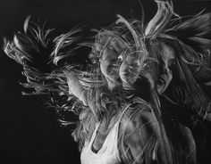 Silje #flowing #blackwhite #girl #movement #motion #drawing #artwork #hair #colored #pencil