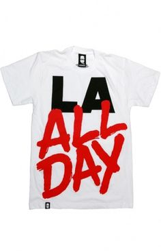 MASKED CLOTHING — LA All Day (White) (Womens) #logo #tee #typography