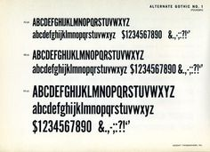 Another appearance by Morris Fuller Benton's classic Alternate Gothic. #type #specimen #typography