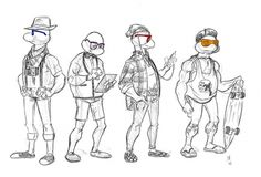 teenage mutant hipster turtles by ~rivrav on deviantART #rivrav #hipster #mutant #turtles #drawing #teenage