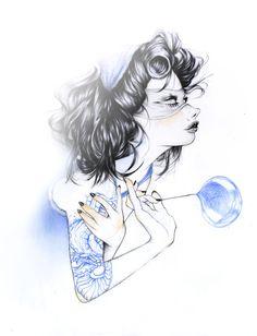 Behance :: Editing work in progress #sexy #pink #snake #hair #women #illustration #drawn #tattoos #pencil #hand
