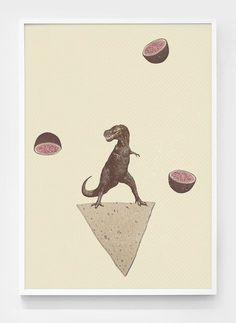 Dino climbing Nacho chip #print #nacho #poster #dinosaur #totopo #collage #watermelon