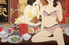 """""""FREE AS LOVE"""" – guangzhou painter HUANG WEI's ukiyo e paintings /// NeochaEDGE /// #tiger"""
