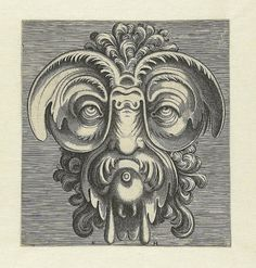 BibliOdyssey: Grotesque Mask Heads #baroque #mannerist #grotesque #engravings #heads #mask #cornelis #ornamental #floris