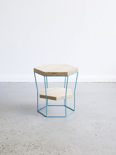 LINZI stool/side table by Luschia Porter #luschia porter #metal #wood #blue #linzi #stool #table #furniture