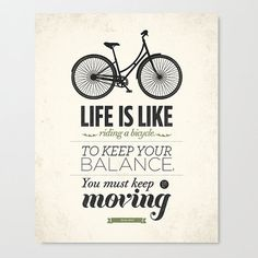 Life is like riding a bicycle wall art Stretched by NeueGraphic #quote #design #poster #typography