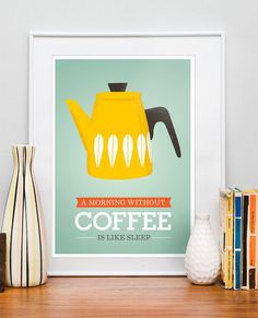by9: Art For Kitchen Coffee art Retro Kitchen Cathrineholm by handz #coffee #illustration #poster