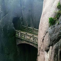 Huangshan, Anhui, China #bridge #rocks #place #china